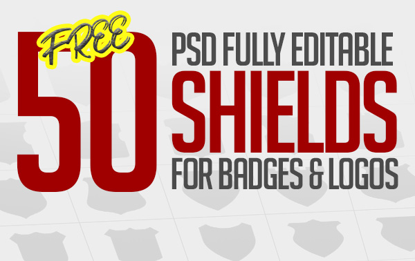 Free 50 Shields For Badges and Logos (PSD)